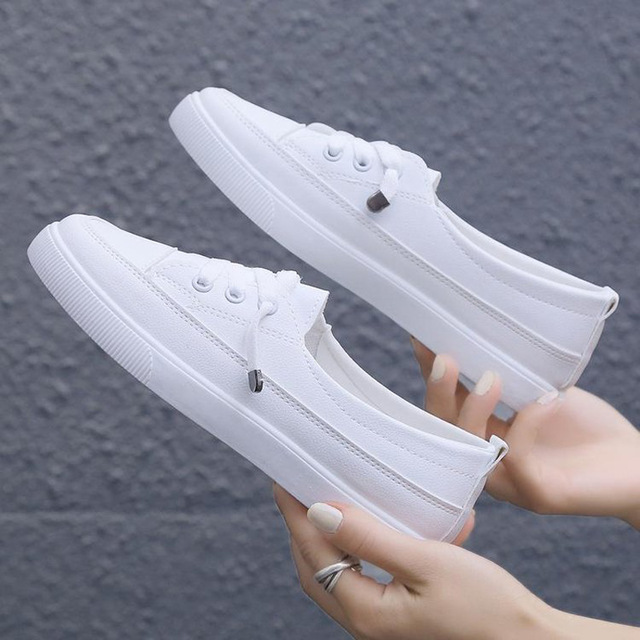 2020 low platform sneakers women shoes female pu leather Walking sneakers Loafers White flat slip on Vacation shoes AB570 5