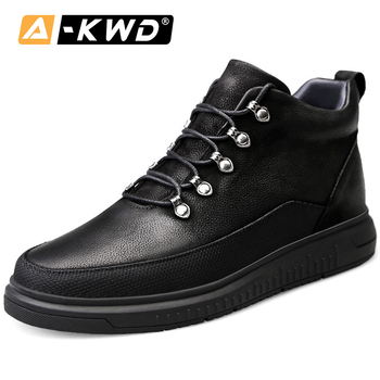 Fashion High Top Black Designer Trainers With Fur Turnschuhe Genuine Leather Men's Shoes Lace-up Autumn Single Leather Sneakers