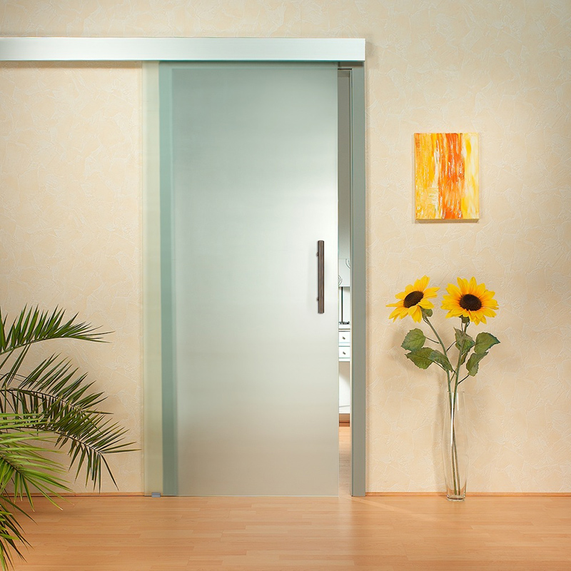 6.6FT Aluminium Alloy Frameless Brushed Glass Shower Sliding Barn Door Hardware Track Kit