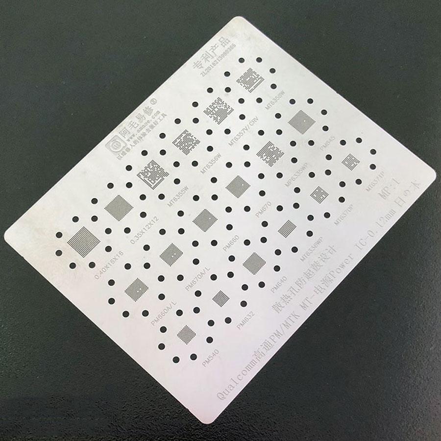 Amaoe BGA Reballing Stencil FOR Qualcomm PM660 670 845 MT6358W 6356W 6355W 6357V 6370P Power PMIC Chip BGA IC Reballing Tin