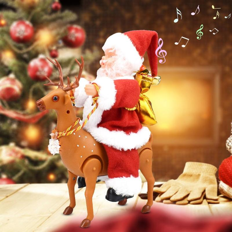 Creative Santa Doll With Riding Deer Electric Music Toy Xmas Ornament Decor Gift Environmental Protection And Durability