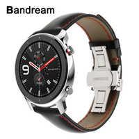 Włochy pasek do zegarka z prawdziwej skóry 20mm 22mm dla Huami Amazfit GTR 47mm 42mm zapięcie motylkowe pasek na zegarek szybki podgląd pasek na pasek