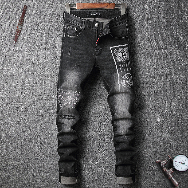 Fashion Streetwear Men Jeans High Quality Printed Designer Black Ripped Jeans Men Elastic Punk Pants Night Club Hip Hop Jeans