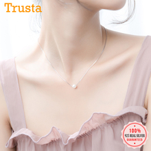 Trustdavis Luxury 925 Sterling Silver Fashion White 6 8 10mm Pearl Pendant 40cm Short Necklace For Women Wedding Jewelry DA189