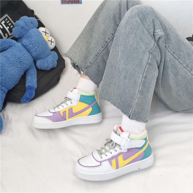 Wome Shoes High Top Shoes Female Ins Students Makaron Korean Version Of Ulzzang Sports Shoes 2020 Trendy