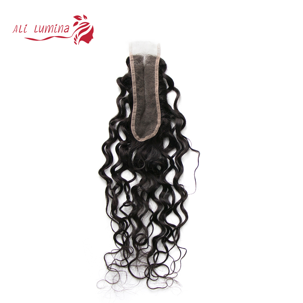 Water Wave 2x6 Kim K Closure Human Hair Closure Brazilian Water Wave Natural Color Middle Part Remy Hair