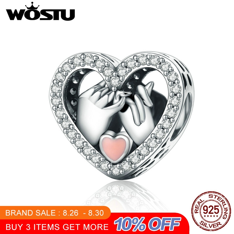 WOSTU Bracelet Charm Gift Love-Heart-Beads 925-Sterling-Silver Original Jewelry for Fit