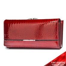 Genuine Leather Women Wallets Female Alligator Wallet Luxury Brand Coin Purse Design Clutch Bag Card Holder Zipper Ladies Purses