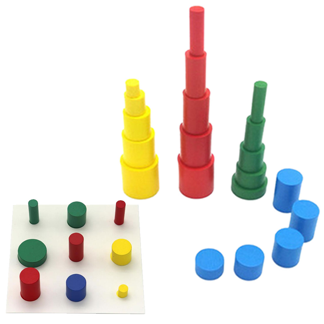 Kids Learning Toys Colorful Socket Cylinder Set Beech Wood Multicolor Blocks Early Educational Math Teaching Toys