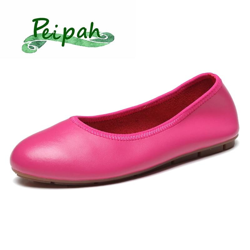 PEIPAH 2020 Summer Women's Genuine Leather Flat Shoes Woman Casual Work Female Ballet Flats Women Flats Larger size ladies shoes