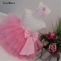 Cute pink white/ivory sequin tulle flower girl dress sleeveless toddler pageant costume kids Princess dress tutu outfits