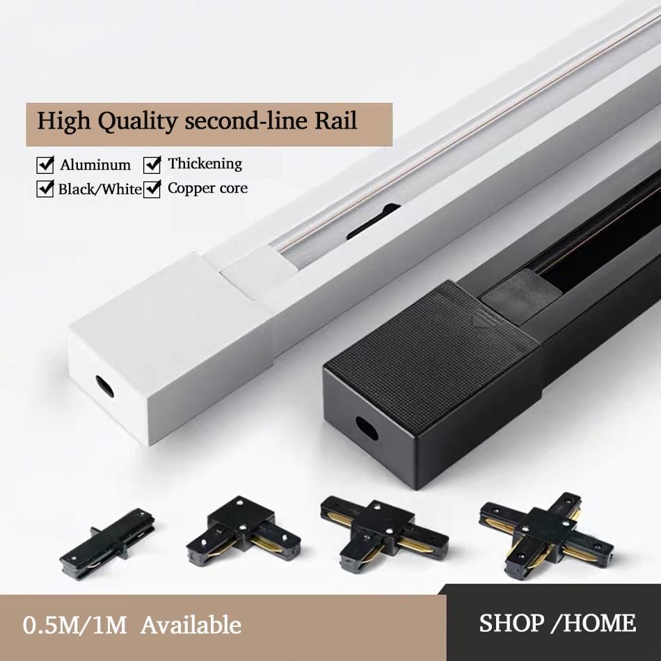 Track Rail 1m Track Light Fitting Aluminum 2 Wire Connector Rail Lamp Spotlight Tracking Lights Black White Universal Rails