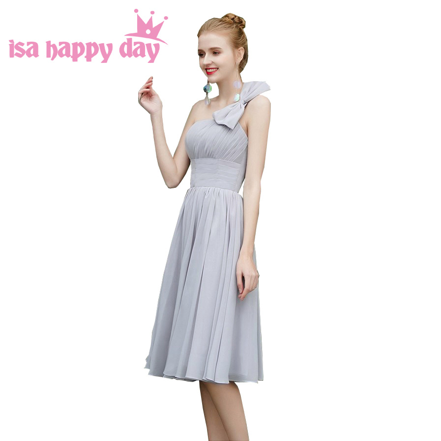 fashion Gray lace up back One shoulder sleeveless teen a line 8th grade elegant Tea Length dress prom dresses for teens H4326