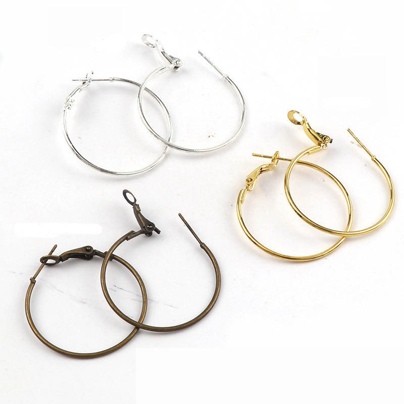 10pcs 30mm Big Earring Hook Gold Silver Bronze Color Ear Ring Clasp Accessories For DIY Jewelry Making Earring Setting Findings