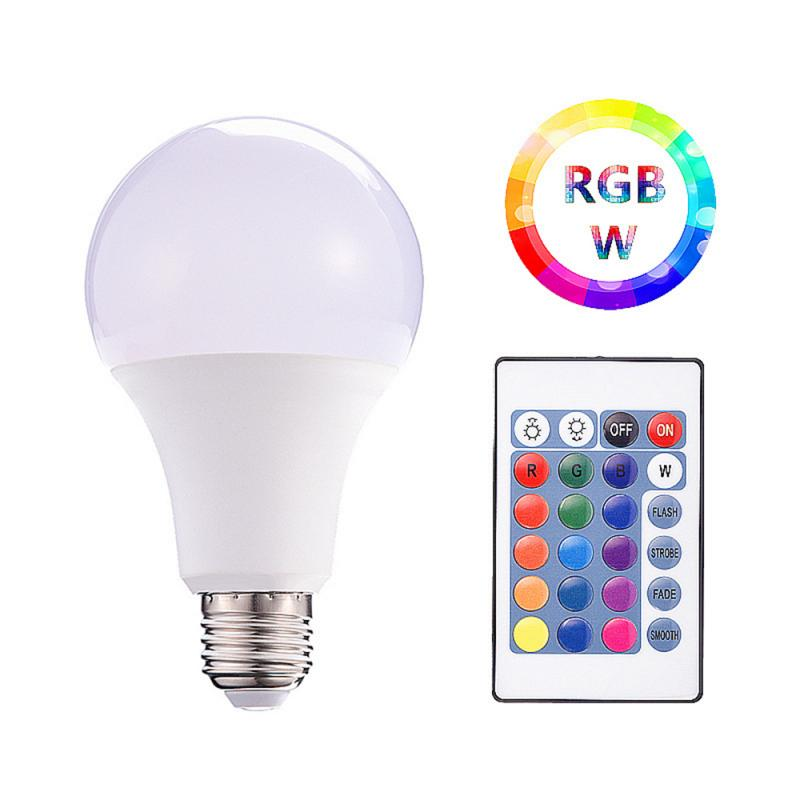 LED Lamp E27 RGB LED Bulb E27 5W 10W 15W RGBW Dimmable Ampoule LED Smart Lights For Home Holiday Decoration With Remote Control