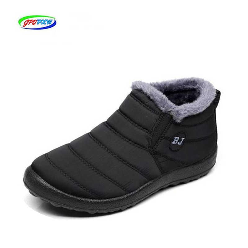 Bottes d'hiver légères pour hommes bottes de neige imperméable Dwaterproof chaussures d'hiver grande taille 46 unisexe Slip cheville bottes d'hiver