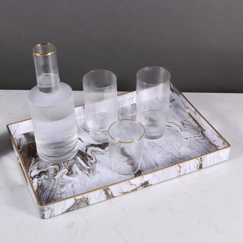Поднос-органайзер для ювелирных изделий с золотой инкрустацией, роскошное домашнее украшение, прямоугольный мраморный сервировочный поднос-1