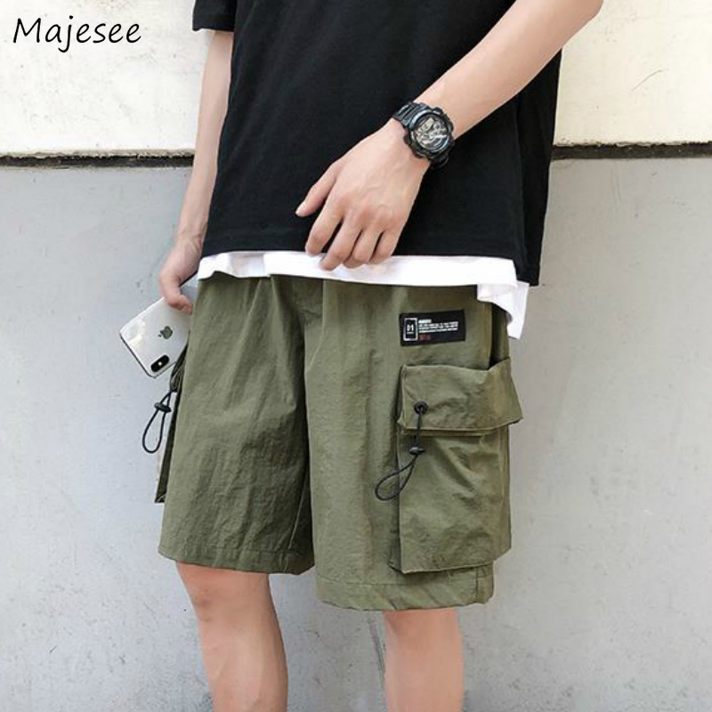 Men Casual Shorts Cargo-shorts Summer Solid Multi Pockets Korean Style Loose Chic Simple All-match Steetwear Oversize Students