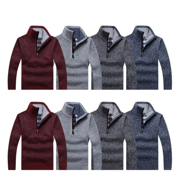 Autumn Mens Thick Warm Knitted Pullover Solid Long Sleeve Turtleneck Sweaters Half Zip Fleece Winter Coat Comfy Clothing