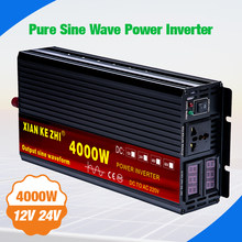 Inverter 12V 220V 2000W 3000W 4000W 24V DC untuk 110V AC Sinus Murni gelombang Tegangan Converter 12 220 Power Car Inverter Mikro(China)