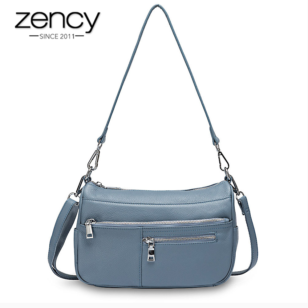 Zency Noble Temperament Women Shoulder Bag 100% Genuine Leather Summer Linen Blue Fashion Crossbody Purse Beige Hobos Handbag