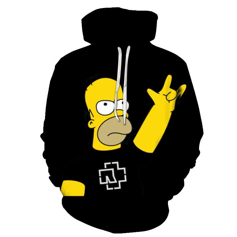 Men Women Hoodie Letter 3D Fashion Print Simpson Sweatshirt Long Sleeve Fat Body Hoodies Cartoon Simpsons Mens high quality Coat