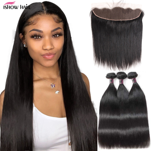 Ishow Hair Straight Bundles with Frontal Transparent Lace Frontal and Bundles Malaysian Human Hair Bundles with Frontal Closure(China)