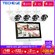 "Techege 8CH CCTV 보안 카메라 시스템 무선 1080P IP 카메라 와이파이 NVR 키트 12 ""LCD 모니터 보안 2MP 두 가지 방법 토크 카메라"