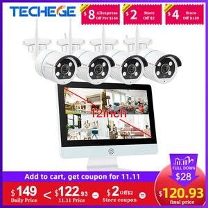 "Image 1 - Techege 8CH אבטחת CCTV מצלמה 1080P IP המצלמה WIFI NVR ערכת 12 ""LCD צג אבטחה 2MP שתי דרכים לדבר מצלמה"
