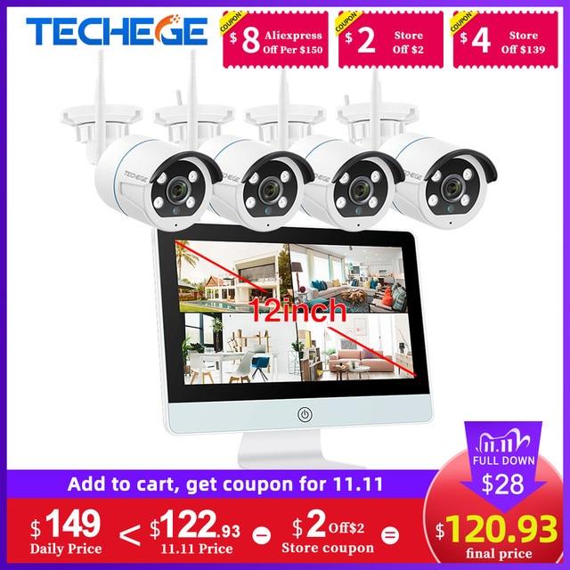 "Techege 8CH אבטחת CCTV מצלמה 1080P IP המצלמה WIFI NVR ערכת 12 ""LCD צג אבטחה 2MP שתי דרכים לדבר מצלמה"