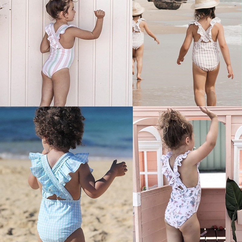 4-8Y Kids Baby Girls Swimsuit Striped Bathing Bikini One-Piece Swimming Suit Swimwear New Children Girl Ruffle Floral Beachwear