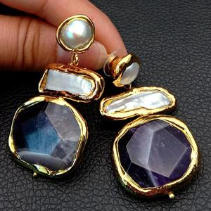 YYGEM Natural Amethyst faceted nugget pave White Biwa Keshi Pearl Freshwater Gold Plated Stud Earrings