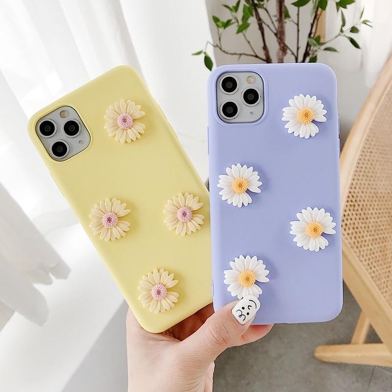 3D Daisy Flower Soft Plain Phone Case For Iphone 7 8 Plus X XR XS Max 12 11 Pro 6 6S Plus Matte TPU Transparent Back Coque Cover