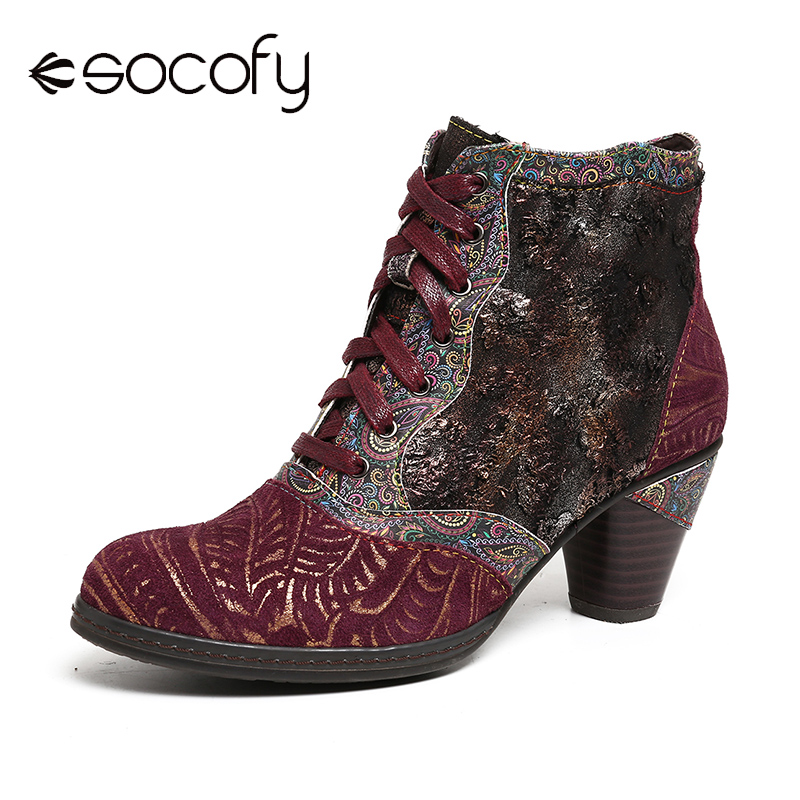 SOCOFY Retro Genuine Boots Leather Splicing Embossed Rose Lace Up Zipper High Heel Ankle Boots Women Shoes Botas Mujer 2019
