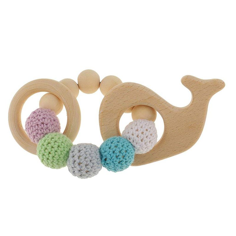 1 Pc Wooden Educational Toys Children Rattle Toy Baby Teething Accessories Multicolor - Whale