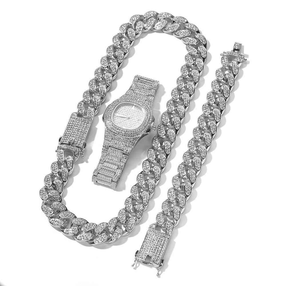 20mm grand large chaîne cubaine collier Bracelet et montre 3 pièces hommes Hip Hop bijoux ensemble or argent Rose