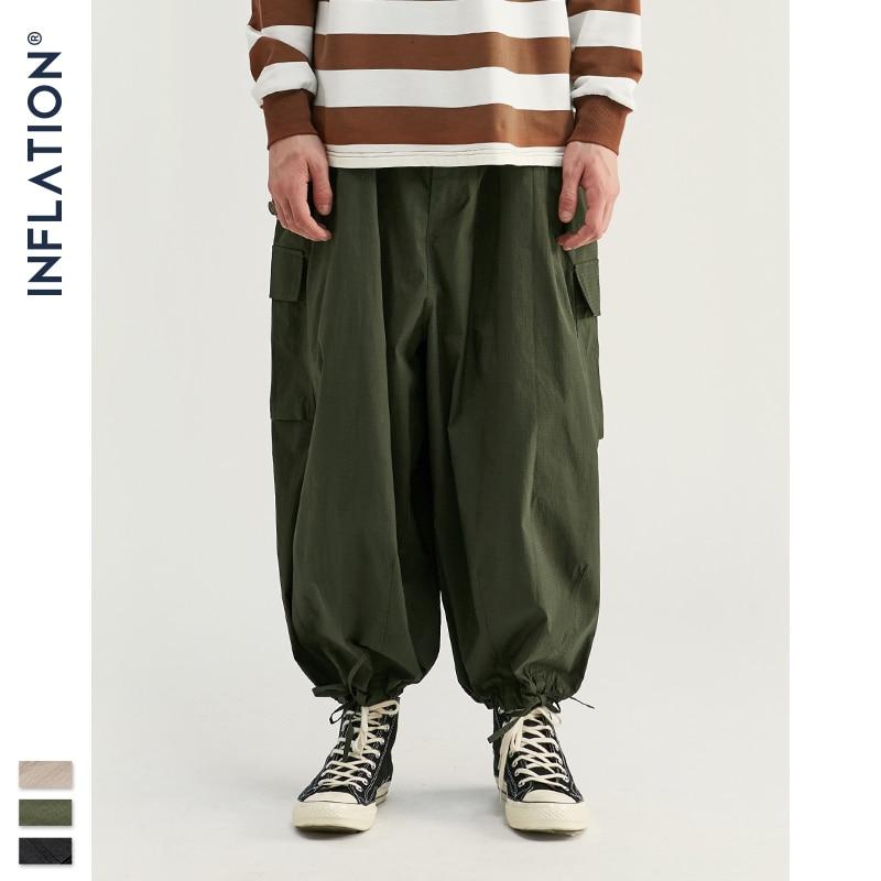INFLATION Design Men Wide-Leg Jogger Thin Autumn Men Jogger Pants Loose Fit Pure Color Streetwear Men Casual Jogger Pants 93395