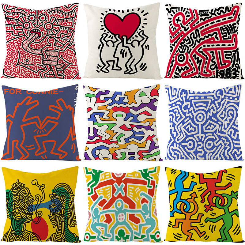 2020 Keith Haring Cushion Cover Linen 45cm Square Throw Pillows Cases Modern Nordic Simple Geometric Pillows Cover Home Decor