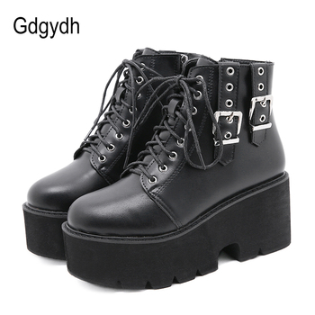 Gdgydh Spring Autumn Womens Boots Platform Wedges Fashion Buckle Black Gothic Chunky Ankle Boots Thick Bottom Comfortable Lacing gdgydh spring luxury shoes women boots designer thick heel platform female ankle boots sexy buckle comfortable round toe boots