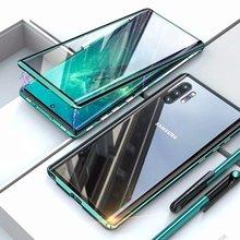 Capa de celular para samsung s8 s9 s10, s20 e 5g note 8 9 10 pro plus metal dois lados vidro 360 protetor à prova de choque