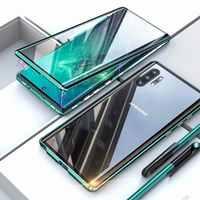 Nouveau téléphone portable étui pour samsung S8 S9 S10 E 5G Note 8 9 10 Pro Plus couverture métal deux côtés verre 360 protection antichoc