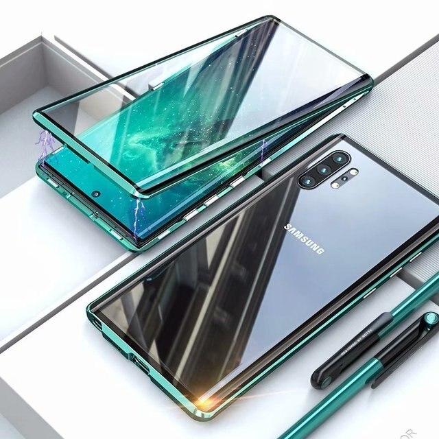 חדש טלפון סלולרי מקרה עבור סמסונג S8 S9 S10 S20 E 5G הערה 8 9 10 פרו בתוספת כיסוי מתכת משני זכוכית 360 מגן עמיד הלם