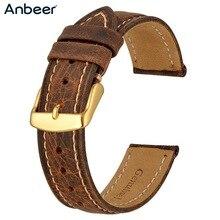 Anbeer Correa de reloj de cuero 18mm 20mm 22mm Crazy Horse piel correa de repuesto Retro hebilla de oro