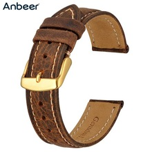 Anbeer Watch Band 18mm 20mm 22mm Crazy Horse Leather Watch Strap Retro Vintage Replacement Belt Luxury Gold Buckle Men Watchband