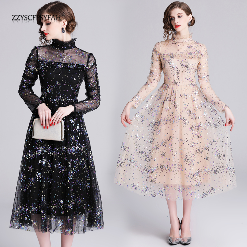 2019 New Elegant Dresses Woman Party Night  Sequin Dress Sexy Club Dresses Cute Lace Christmas Dress Women  Korean Dress Fall