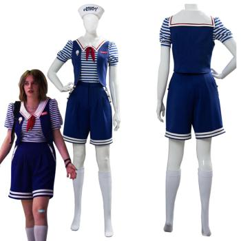Stranger Things 3 Scoops Ahoy Robin Cosplay Costume Dress Steve Harrington Adult Uniform Working Sailor Suit Halloween Carnival