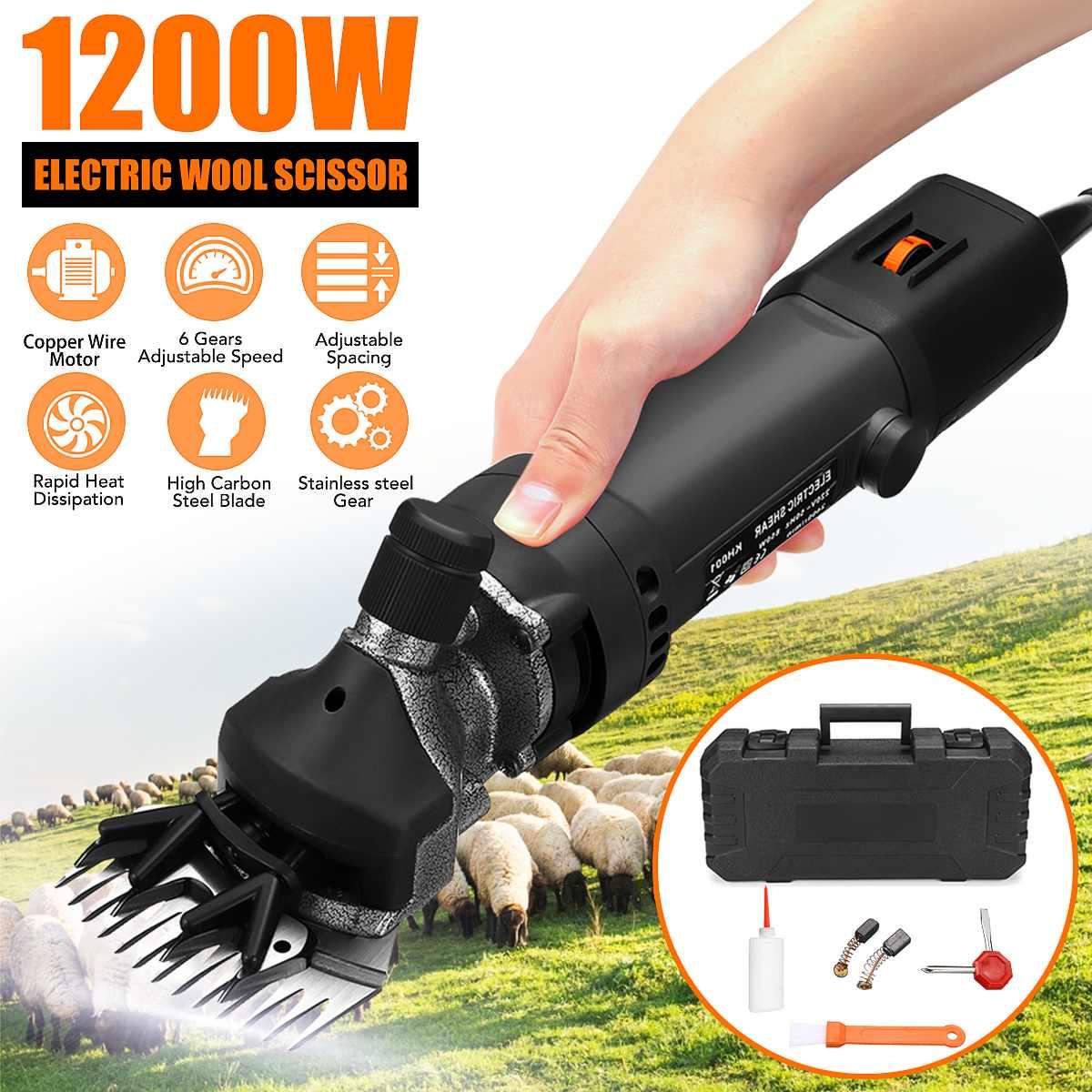 1200 Вт 6 передач, электрическая для стрижки овец, резак из козьей шерсти, инструмент для регулировки бритья, мощный инструмент для стрижки