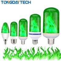 E27 E26 E14 lámpara de llama Led 85-265V Luces Led Decoracion efecto fuego bombilla parpadeante Lampara emulación luz verde