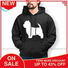 Cool West Highland Terrier Dogs White Silhouette Hoodie Cotton Autumn Hoodies Long Length Outdoor Pullover Hoodie XXX Men
