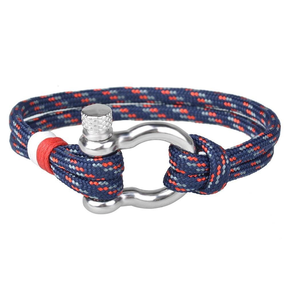Kirykle-Bracelet en fer à cheval, en alliage, pour femmes, ancre, chaîne, cordon en Polyester, bijoux pour hommes 2